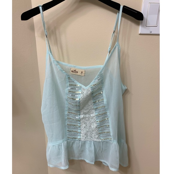 Hollister light blue sequin camisole M